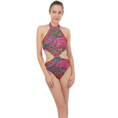 Abstract Art Multicolored Pattern Halter Side Cut Swimsuit by SpinnyChairDesigns