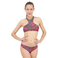 Abstract Art Multicolored Pattern High Neck Bikini Set by SpinnyChairDesigns