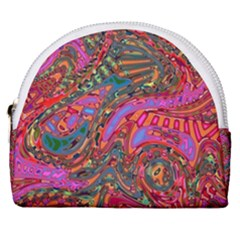 Abstract Art Multicolored Pattern Horseshoe Style Canvas Pouch by SpinnyChairDesigns