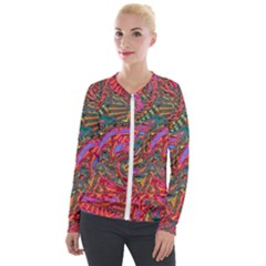 Abstract Art Multicolored Pattern Velour Zip Up Jacket by SpinnyChairDesigns