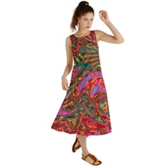 Abstract Art Multicolored Pattern Summer Maxi Dress