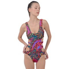 Abstract Art Multicolored Pattern Side Cut Out Swimsuit by SpinnyChairDesigns