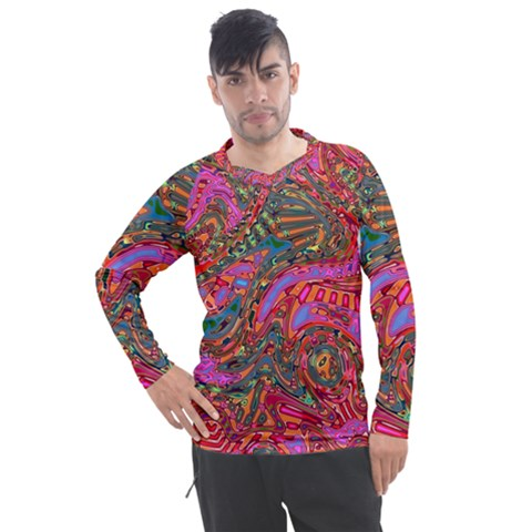 Abstract Art Multicolored Pattern Men s Pique Long Sleeve Tee by SpinnyChairDesigns