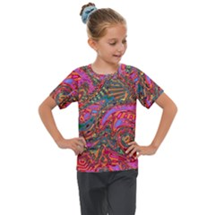 Abstract Art Multicolored Pattern Kids  Mesh Piece Tee