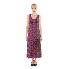 Abstract Retro Floral Stripes Pattern Sleeveless Maxi Dress by SpinnyChairDesigns