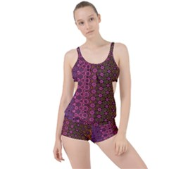 Abstract Retro Floral Stripes Pattern Boyleg Tankini Set  by SpinnyChairDesigns