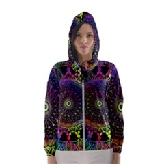 Colorful Rainbow Colored Arabesque Mandala Kaleidoscope  Women s Hooded Windbreaker by SpinnyChairDesigns