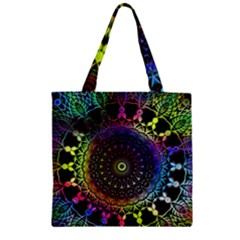 Colorful Rainbow Colored Arabesque Mandala Kaleidoscope  Zipper Grocery Tote Bag by SpinnyChairDesigns