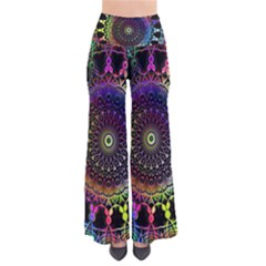 Colorful Rainbow Colored Arabesque Mandala Kaleidoscope  So Vintage Palazzo Pants by SpinnyChairDesigns