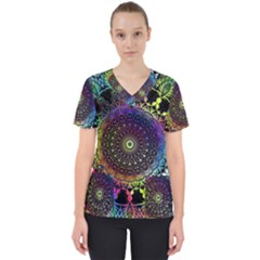 Colorful Rainbow Colored Arabesque Mandala Kaleidoscope  Women s V-neck Scrub Top by SpinnyChairDesigns