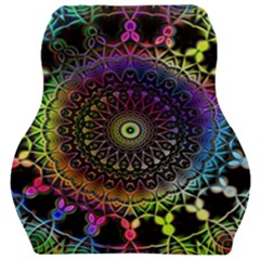 Colorful Rainbow Colored Arabesque Mandala Kaleidoscope  Car Seat Velour Cushion  by SpinnyChairDesigns
