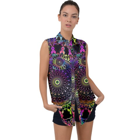 Colorful Rainbow Colored Arabesque Mandala Kaleidoscope  Sleeveless Chiffon Button Shirt by SpinnyChairDesigns