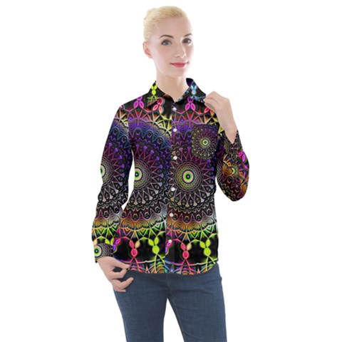 Colorful Rainbow Colored Arabesque Mandala Kaleidoscope  Women s Long Sleeve Pocket Shirt by SpinnyChairDesigns