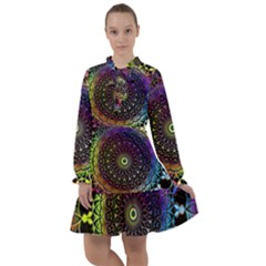 Colorful Rainbow Colored Arabesque Mandala Kaleidoscope  All Frills Chiffon Dress by SpinnyChairDesigns