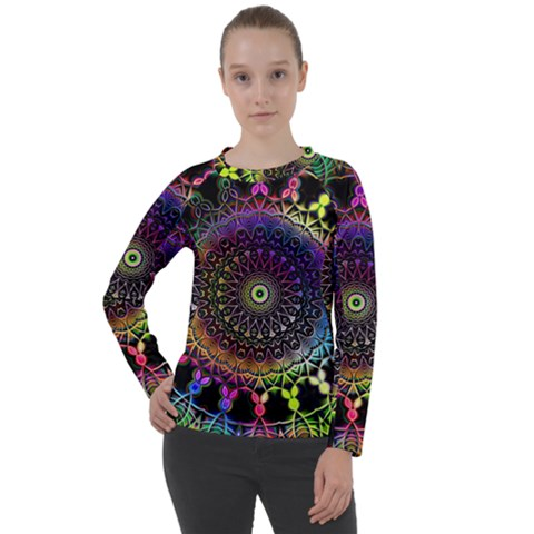 Colorful Rainbow Colored Arabesque Mandala Kaleidoscope  Women s Long Sleeve Raglan Tee by SpinnyChairDesigns