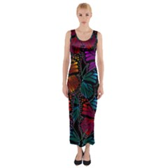 Colorful Monarch Butterfly Pattern Fitted Maxi Dress