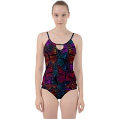 Colorful Monarch Butterfly Pattern Cut Out Top Tankini Set