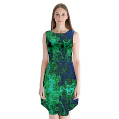 Abstract Green And Blue Techno Pattern Sleeveless Chiffon Dress   by SpinnyChairDesigns