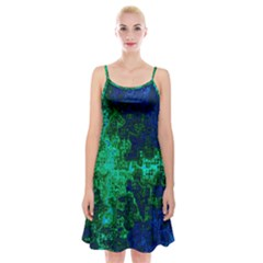 Abstract Green And Blue Techno Pattern Spaghetti Strap Velvet Dress