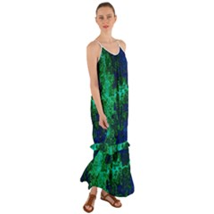 Abstract Green And Blue Techno Pattern Cami Maxi Ruffle Chiffon Dress by SpinnyChairDesigns