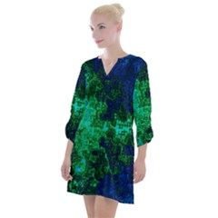 Abstract Green And Blue Techno Pattern Open Neck Shift Dress by SpinnyChairDesigns