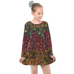 Stylish Fall Colors Camouflage Kids  Long Sleeve Dress by SpinnyChairDesigns