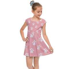Animal Cat Dog Prints Pattern Pink White Kids  Cap Sleeve Dress by SpinnyChairDesigns