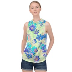 Cosmos Flowers Blue High Neck Satin Top