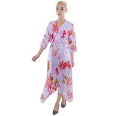 Cosmos Flowers Pink Quarter Sleeve Wrap Front Maxi Dress