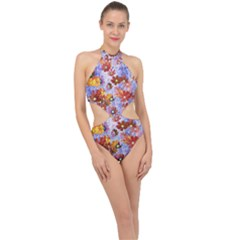 Cosmos Flowers Brown Halter Side Cut Swimsuit