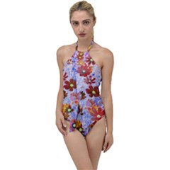 Cosmos Flowers Brown Go With The Flow One Piece Swimsuit