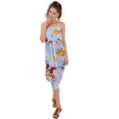 Cosmos Flowers Ligh Blue Waist Tie Cover Up Chiffon Dress