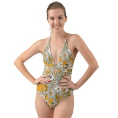 Cosmos Flowers Sepia Color Halter Cut-out One Piece Swimsuit by Cveti