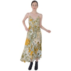 Cosmos Flowers Sepia Color Tie Back Maxi Dress by Cveti
