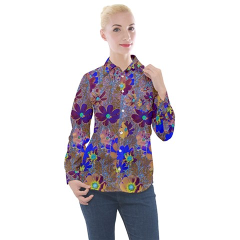 Cosmos Flowers Brown Blue Women s Long Sleeve Pocket Shirt by Cveti