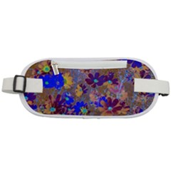Cosmos Flowers Brown Blue Rounded Waist Pouch