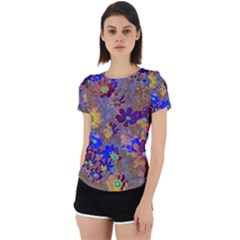 Cosmos Flowers Brown Blue Back Cut Out Sport Tee