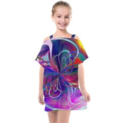 Rainbow Painting Pattern 2 Kids  One Piece Chiffon Dress