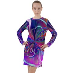 Rainbow Painting Pattern 2 Long Sleeve Hoodie Dress
