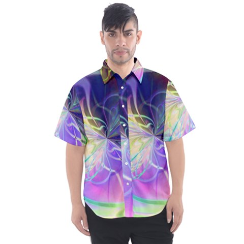 Rainbow Painting Patterns 3 Men s Short Sleeve Shirt by Cveti