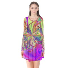 Rainbow Painting Pattern 4 Long Sleeve V-neck Flare Dress