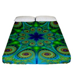 Peacock Mandala Kaleidoscope Arabesque Pattern Fitted Sheet (king Size) by SpinnyChairDesigns