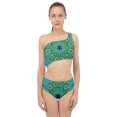 Peacock Mandala Kaleidoscope Arabesque Pattern Spliced Up Two Piece Swimsuit by SpinnyChairDesigns