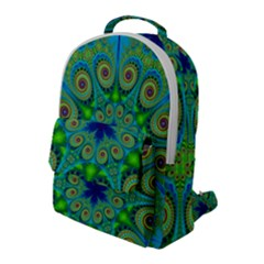 Peacock Mandala Kaleidoscope Arabesque Pattern Flap Pocket Backpack (large) by SpinnyChairDesigns