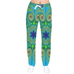 Peacock Mandala Kaleidoscope Arabesque Pattern Women Velvet Drawstring Pants by SpinnyChairDesigns