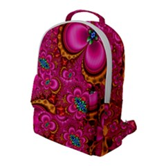 Abstract Pink Gold Floral Print Pattern Flap Pocket Backpack (large)