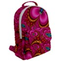 Abstract Pink Gold Floral Print Pattern Flap Pocket Backpack (Large) View2