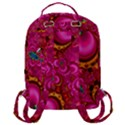 Abstract Pink Gold Floral Print Pattern Flap Pocket Backpack (Large) View3