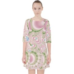 Pastel Pink Abstract Floral Print Pattern Pocket Dress