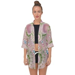 Pastel Pink Abstract Floral Print Pattern Open Front Chiffon Kimono